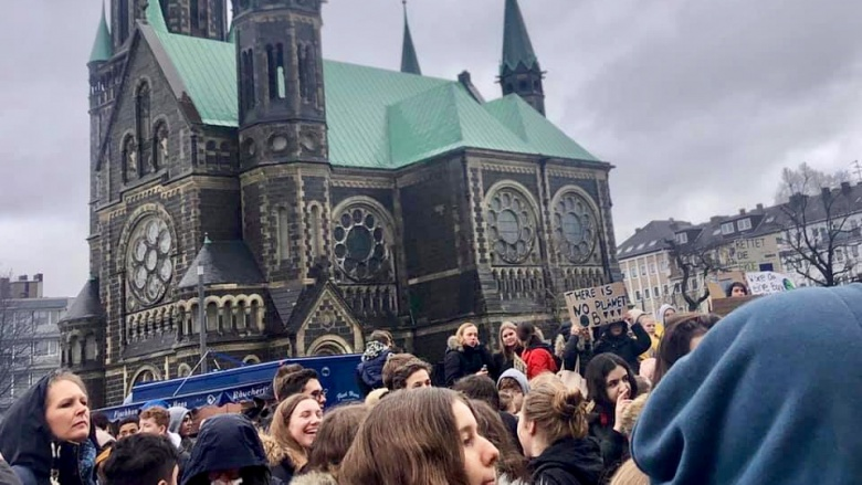 Schülerdemo strike for climate