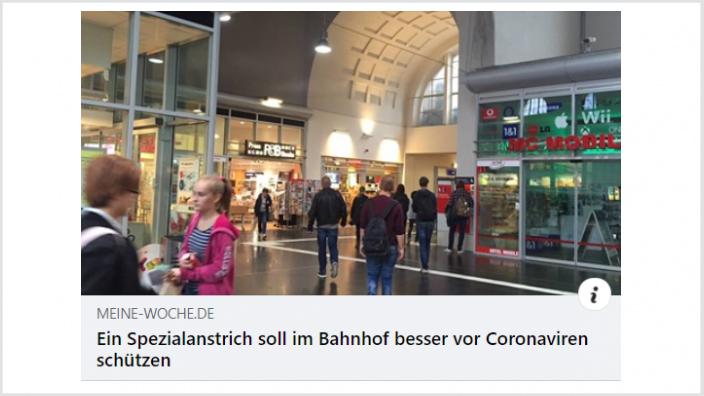 Coronaschutzanstrich Bahnhof
